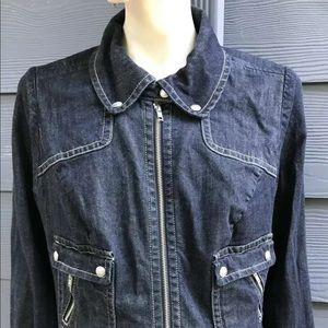 Lane Bryant Women Denim Jacket 18 Blue Stretch Zip